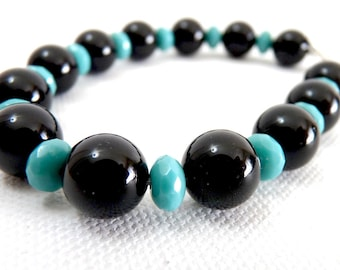 Onyx and Green Turquoise Bracelet