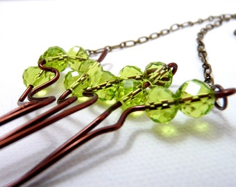 Branching Out - Sparkling Green Tree Necklace - green and brown wire tree