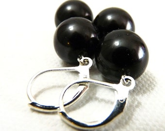 Simple Black Pearl and Silver Earrings