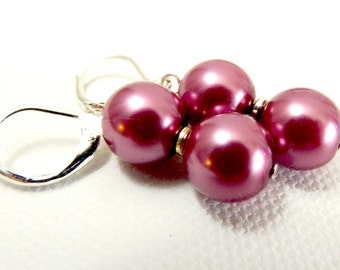 Simple Posy Pink Pearl and Silver Earrings