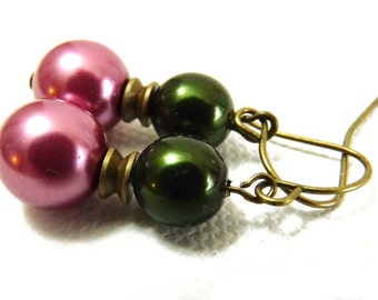 Candy Pink and Deep Green Brass and Pearl Earrings