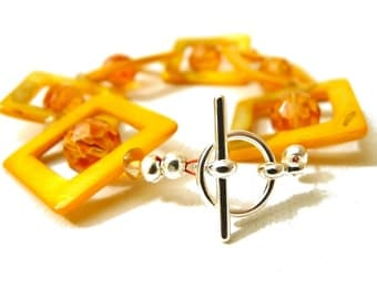 Geometric Sunrise Bracelet- yellow and orange squares