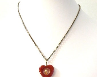 Warm Heart Pendant Necklace - agate and antiqued brass- adjustable length
