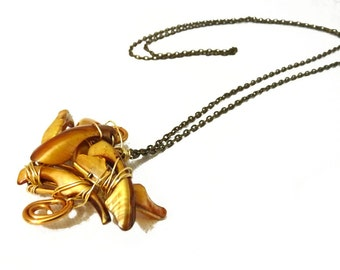 Golden Cluster abstract Pendant - Mother of Pearl Pendant - on brass chain