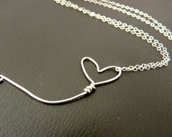 Sterling Silver Pendant -Heart Shaped Balloon- Sterling Necklace