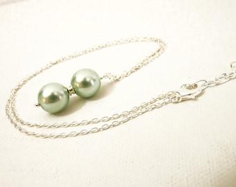 Sea Foam Pearl Pendant - Silver  & Aqua 12mm