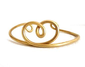 Heart knot Brass Cuff - Bracelet - solid brass
