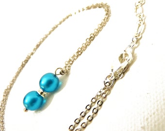 Bright Turquoise Blue Pearl Pendant- on silver