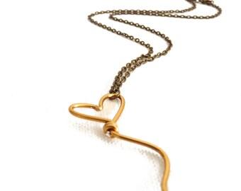 Golden Heart Shaped Balloon Pendant - aluminum on Brass