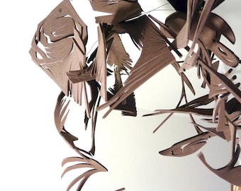 Cocoa Swarm - Chocolate Brown Hanging Sculpture