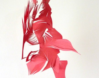Red Feather- cut paper Hanging Sculpture