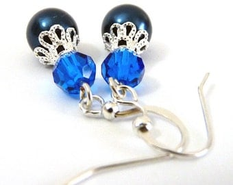 Sapphire Blue Sparkling Earrings- crystal and pearl on silver