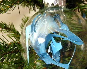 Turquoise Blue Cut Paper Modern Holiday Ornament - Large - glass