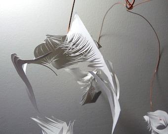 Wobble - White Cut Paper & Copper art mobile - hanging sculpture