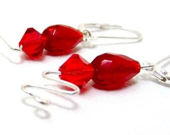 Ruby Red Silver Swirl Earrings