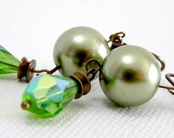 Envy Green Fire Drop Pearl Earrings