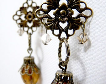 Mahogany Brown Brass Sparkle Earrings - dangly with floral filigree