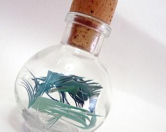 Seafoam Blue Green Cut Paper Art Sculpture in a bottle - bigger bulb shape