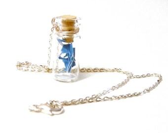 Bottle Necklace- tiny blue sea foam Cut Paper Art Pendant - silver plated - D