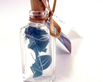 Seafoam Blue Green Cut Paper Art Sculpture in a bottle - triangle