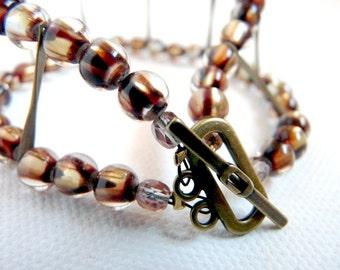 Indian Corn - summer glass and brass bracelet - 2 strand bangle