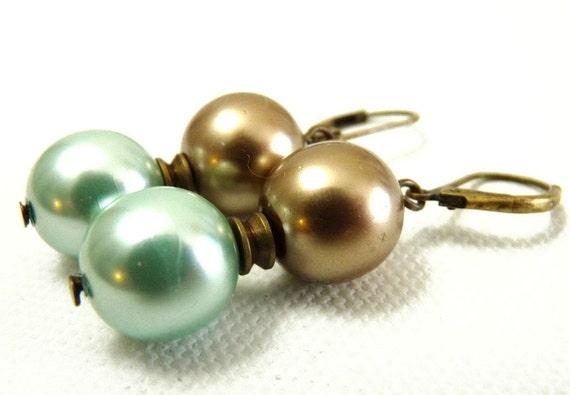 Simple Aqua Cocoa Brass and Pearl Earrings