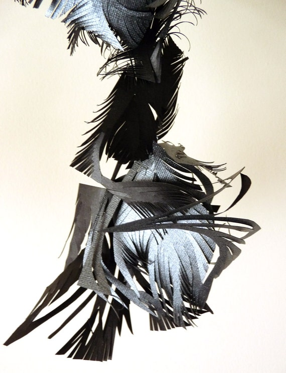 Blackbird - Hand cut paper hanging sculpture - single strand mobile