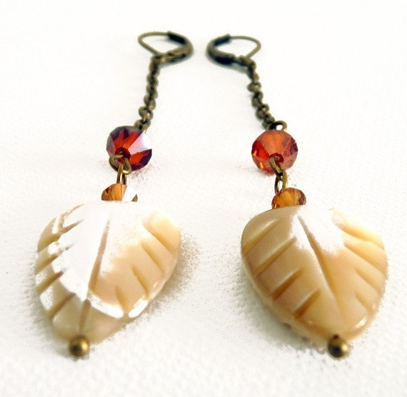 Amber Leaf Chain Earrings
