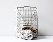 vintage locker basket / school locker basket / industrial decor