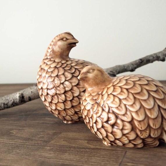 perched vintage quails