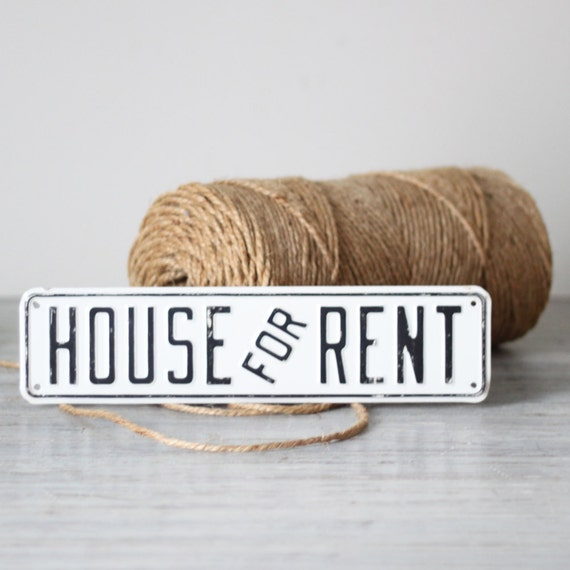 House For Rent Sign: White Enamel House For Rent Sign By HRUSKAA On Etsy