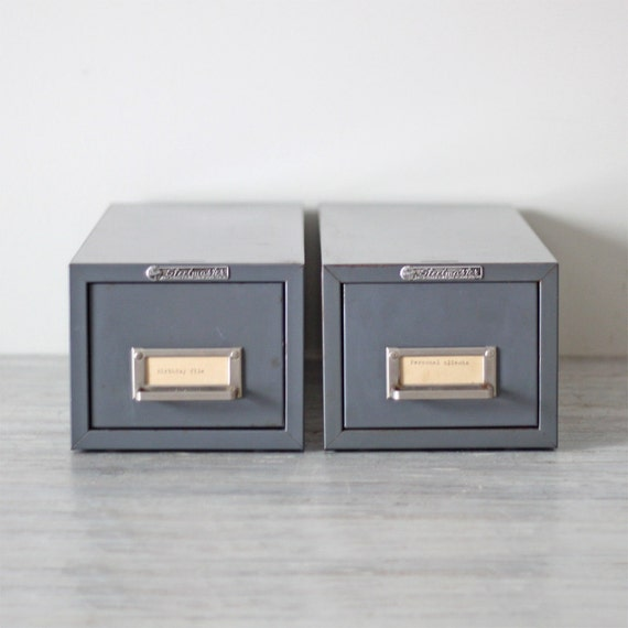 RESERVED industrial gray card file cabinet set