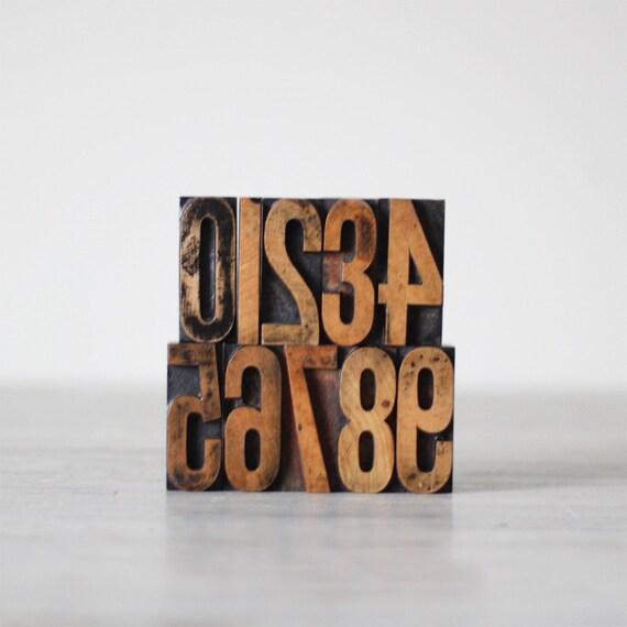 number letterpress print block set
