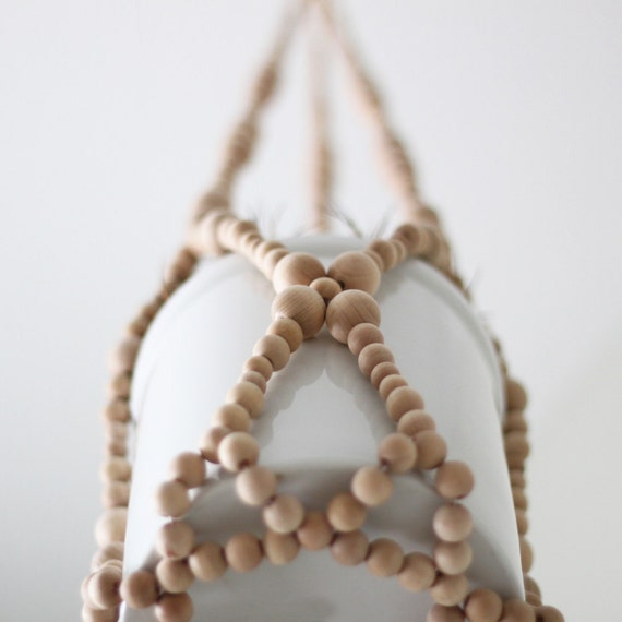 Beaded Hanging Planter / Scandinavian Modern Plant Holder / Natural Wood Beads / Spring Decor