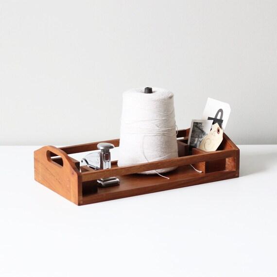 vintage teak desktop tray / divided desk storage