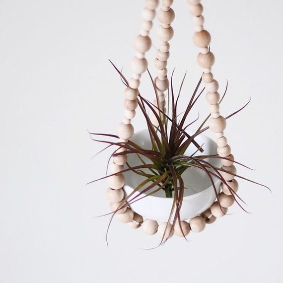 Small Beaded Hanging Planter with Cup / Scandinavian Modern Plant Holder / Natural Wood Beads