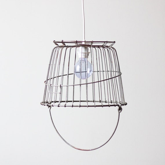 vintage wire basket swag lamp / industrial ceiling light