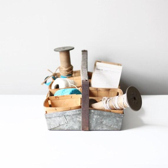 vintage berry picking tote / industrial box storage