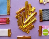 Gold Ribbon Clamps - Ribbon Crimps in Assorted Sizes