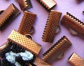 16pcs. 16mm or 5/8 inch Antique Copper Ribbon Clamp End Crimps