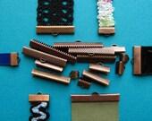 Antique Copper Ribbon Clamps - Ribbon Crimps - Assortment of sizes
