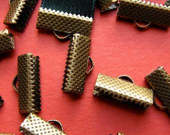 16 pieces 16mm or 5/8 inch Antique Bronze Ribbon Clamp End Crimps