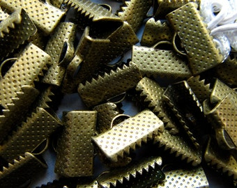 144 pieces 13mm or 1/2 inch Antique Bronze Ribbon Clamp End Crimps
