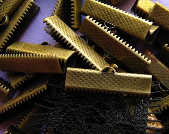 144 pieces 25mm or 1 inch Antique Bronze Ribbon Clamp End Crimps
