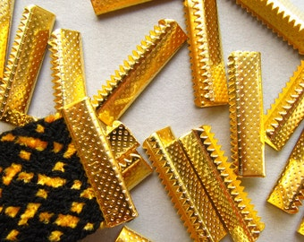 16 pieces 22mm or 7/8 inch Gold No Loop Ribbon Clamp End Crimps