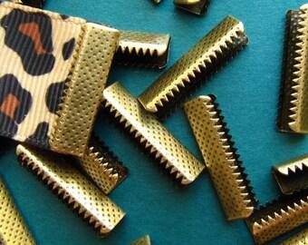 16pcs. 22mm or 7/8 inch Antique Bronze No Loop Ribbon Clamp End Crimps