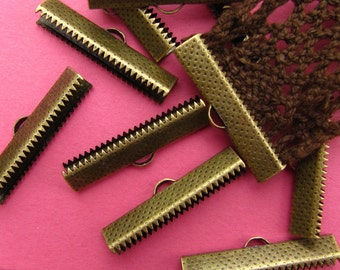 12pcs. 30mm or 1 3/16 inch Bronze Ribbon Clamp End Crimps