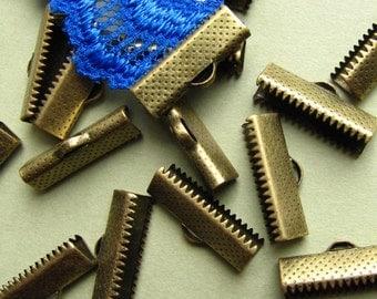 16pcs. 20mm or 3/4 inch Antique Bronze Ribbon Clamp End Crimps
