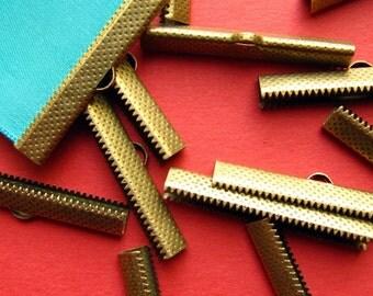 10pcs. 40mm or 1 9/16 inch Antique Bronze Ribbon Clamp End Crimps