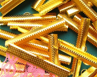 144pcs. 40mm or 1 9/16 inch Gold Ribbon Clamp End Crimps